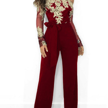 6502f9db1a4 Women Summer Slash Neck Sequined Jumpsuit Sexy Long Straight Pants Elegant  Rompers Floral Print Office Lady. 3 Colors Available