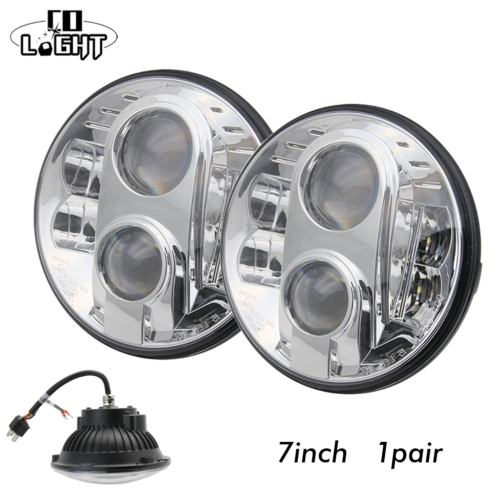 7 Headlight 7'' 2 Pieces 48W Led Chip H4 High Low Beam 30W Led Drl Angelic Eyes for 4X4 Off Road Jeep Wrangler Jk Lada Niva UAZ h4 7 led headlights with led car canbus led chip 80w 8000lm 6000k hi lo led driving light for off road uaz lada