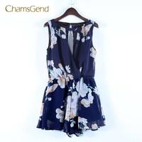 CHAMSGEND 2017 New Fashion Chiffon Womens Summer Bohemian Playsuit Print Jumpsuit JUN06
