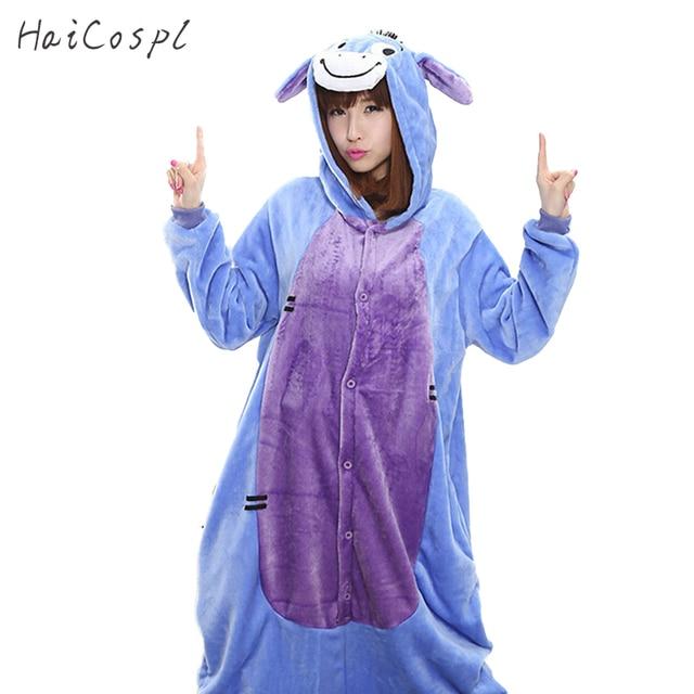 f05b7d20855c Donkey Pajama Set Animal Cosplay Costume Women Men Adult Winter Flannel  Warm Cartoon Onesie Eeyore Purple Kigurumi Party Wear