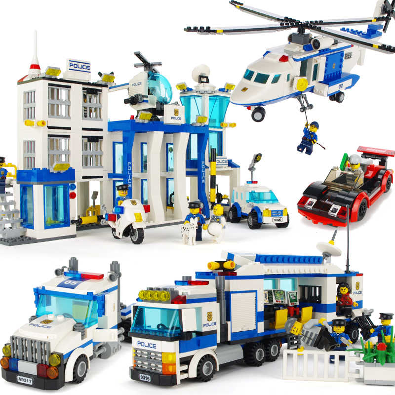 educational assembled Police Helicopter Prison Mobile Police Station building bricks blocks fit legoingly kid toys children gift