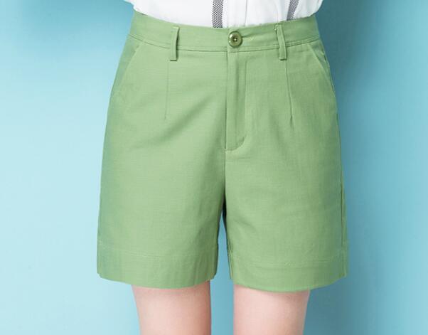 2019 summer high waist five points cotton linen large size straight   wide     leg     pants   women