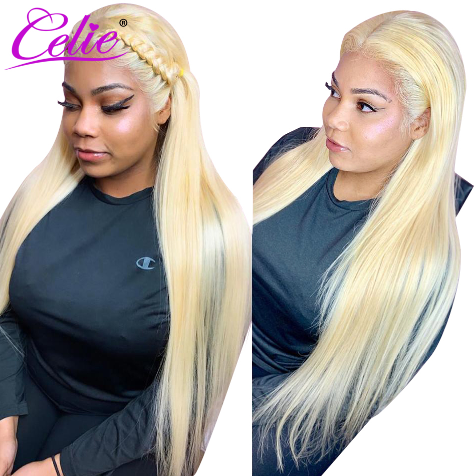 Celie 613 Blonde Lace Front Human Hair Wigs Transparent Lace Wig Brazilian Straight 13x6 Lace Front Wig HD Lace Frontal Wigs