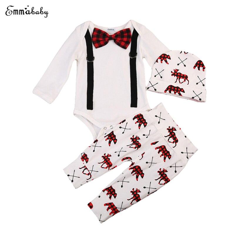3pcs Hot Sale Baby Autumn Clothes Set Newborn Baby Boys Cotton Soft Gentleman Romper+Deer Pants+Hat 2017 New bebes Outfits 0-24M