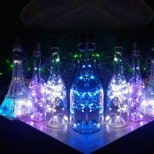 1 м 10 светодиодный 2 м 20 светодиодный стеклянный винный светодиодный светильник-гирлянда пробка для бутылки вина с подсветкой лампа для украшения рождественской вечеринки