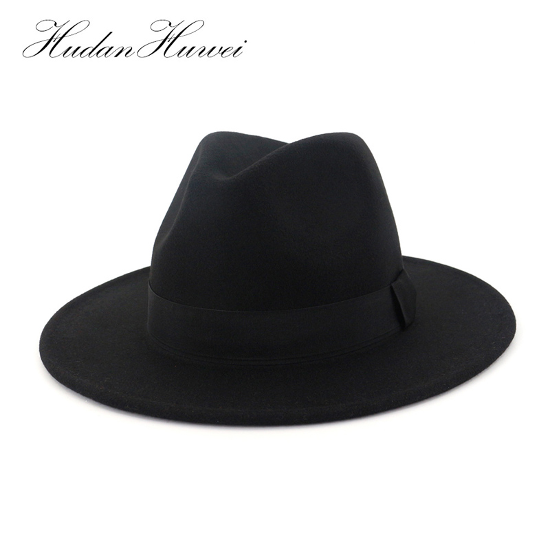 Detail Feedback Questions about High Quality Wide Brim Wool Felt Formal  Party Jazz Trilby Fedora Hat Autumn Winter Panama Chapeau for Men Women  Unisex on ... 978746e7e9b4