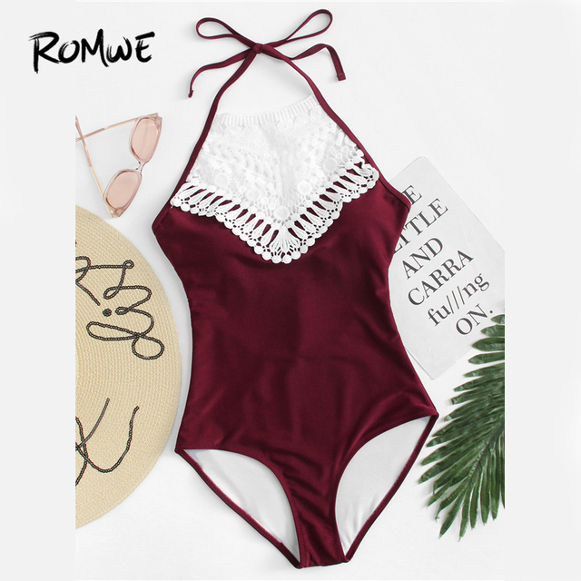 Romwe Sport Burgundy Crochet Lace Halter One Piece Swimsuits Women 2018  Summer Plain Beach Sexy Swimwear With Chest Pad be2c6985d17e