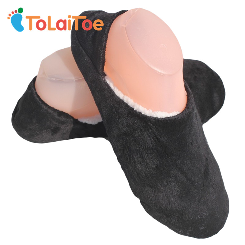 ToLaiToe New Men's Non-Sole Slipper Household Shoes Black Woolen Slippers Flannel Flat Home Slippers Warm Soft 1 Pair One Size капсулы для кофемашин tassimo milka какао 8шт