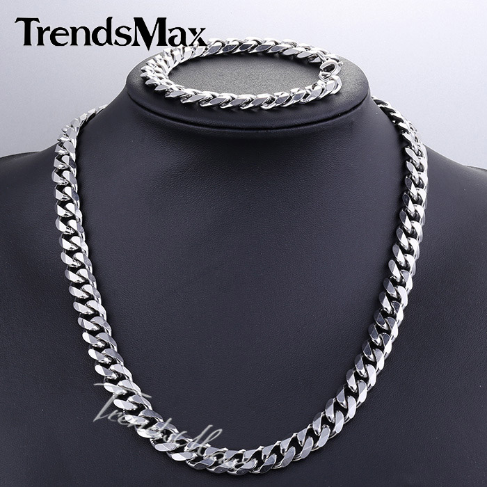 JEWELRY SET 11mm Mens Chain Boys Necklace Curb Cuban Link Silver Tone Stainless Steel Necklace Bracelet