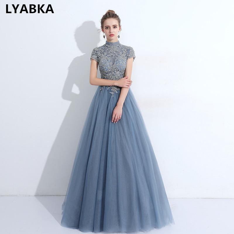 2019 Style Kaftan Evening Dresses Long Fashion High Neck Evening Dress Short Sleeve Robe De Soiree