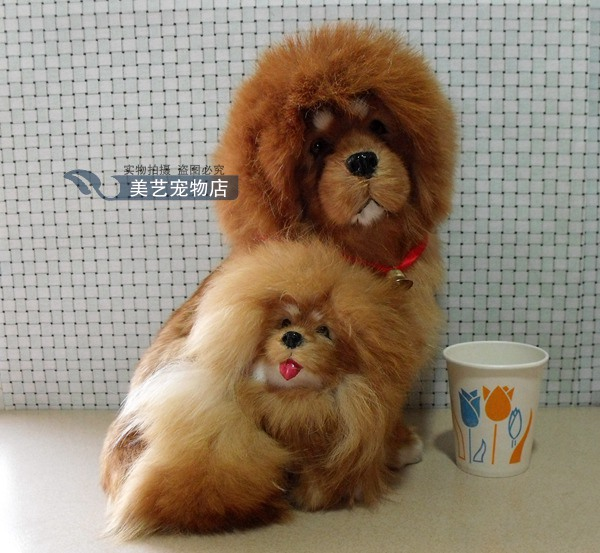 simulation mother&child Tibetan mastiff 20x20x26cm toy model polyethylene&furs dog model home decoration props ,model gift d154 super cute plush toy dog doll as a christmas gift for children s home decoration 20
