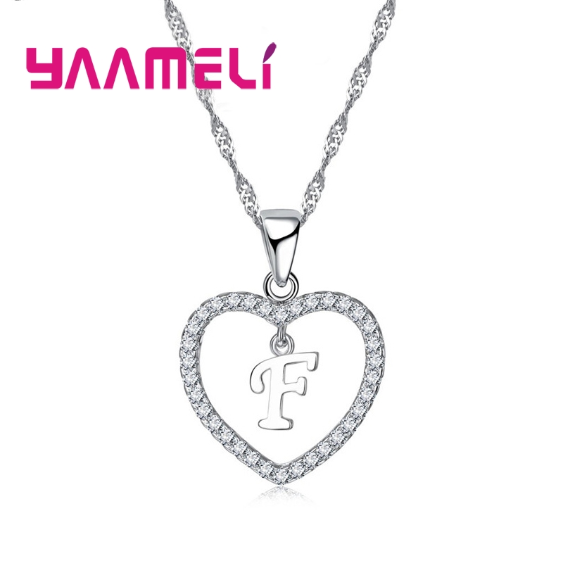 Romantic Heart Design 26 Letters Necklace Pendant Super Shiny Cubic Zirconia 925 Sterling Silver For Women Girls Gift 5