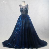 RSE186 Bling Bridal Gowns Sleeveless Boat Neckline Beading Pattern Illusion Back Royal Blue Wedding Gowns