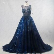 RSE186 Bling vestidos de novia sin mangas barco pedrería en el escote patrón ilusión de espalda azul real vestidos de boda