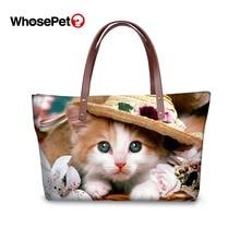 WHOSEPET Cute Cat Printing Pattern Women Handbags Top-handle Bag Large Capacity Animal Casual Tote Fashion Ladies Shoulder Bags