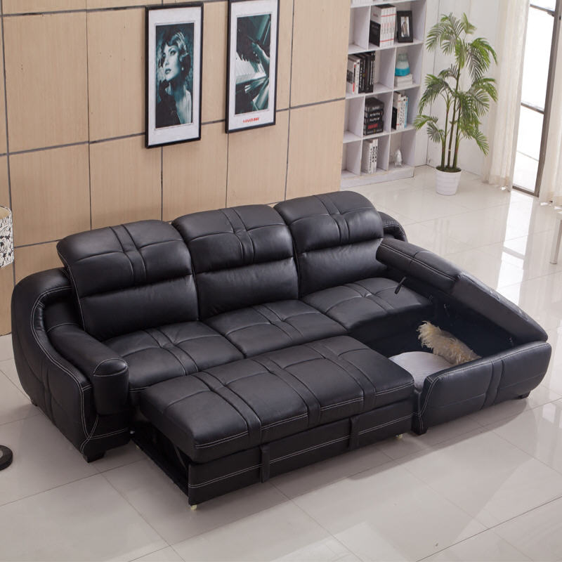 Living Room Sofa set furniture real genuine cow leather sofas bed recliner puff asiento muebles de sala canape L shape sofa cama image