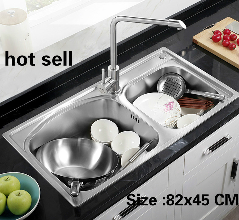 Free Shipping Apartment 304 Stainless Steel Standard Kitchen Double Groove Sink Do The Dishes Hot Sell 82x45 CM