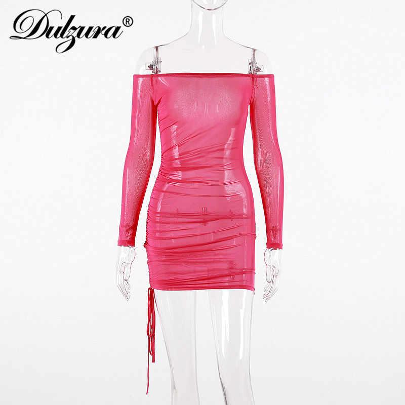 Dulzura 2019 летнее женское платье Сетчатое сексуальное бандаж голые плечи обтягивающее элегантное на выход платье Фестивальная одежда прозрачная смокинг