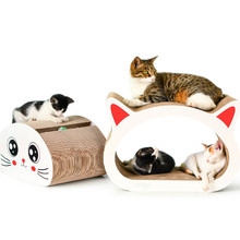 Cat scratch board increase two cat head shape corrugated paper claw toy patent product