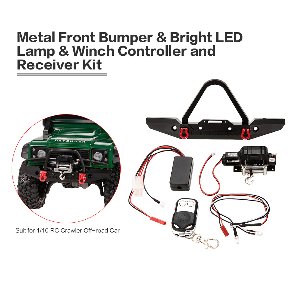 Metal Front Bumper Bright LED Lamp Winch Controller & Receiver Kit for RC Car 1/10 TRX-4 RC Crawler Off-road Climbing Car high power headlight system super bright led light lamp for rc car rc crawler aircraft boat