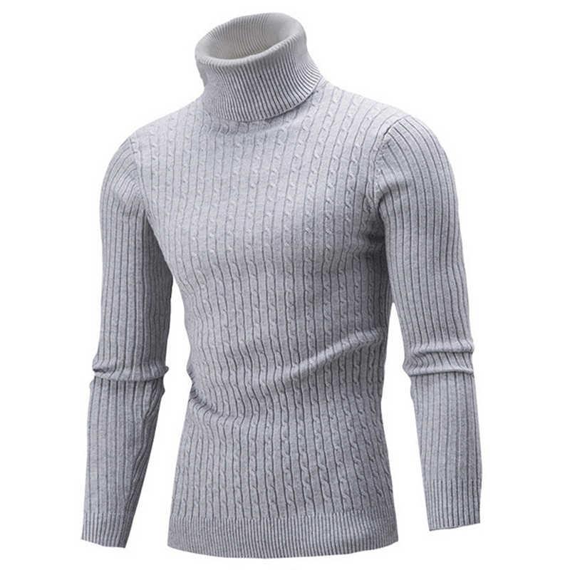 2019 באיכות גבוהה חם גולף סוודר גברים אופנה מוצק סרוג Mens סוודרים מקרית Slim סוודרים זכר כפול צווארון חולצות