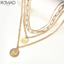 ROMAD Vintage Coin Pendant Necklace Women Multilayer Chain Chocker Statement collana Roman coinParty Jewelry R5