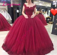 Vestido De 15 Anos 2018 Burgundy Sweet 16 Dresses V Neck Lace Applique Tulle Ball Gown Quinceanera Dress Custom Prom Gown