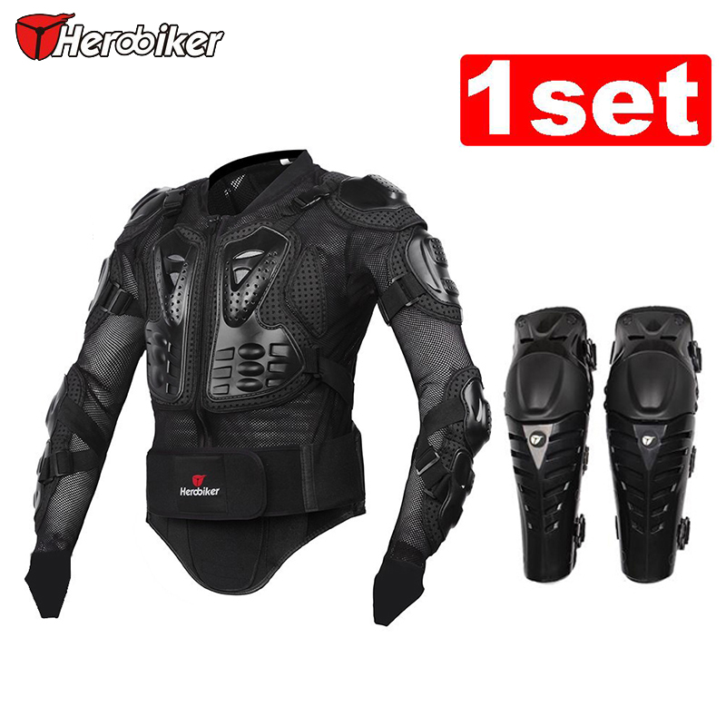 ФОТО HEROBIKER Black/RED Motorcycles Armor Protection Motocross Clothing Jacket+protective Motocycle Knee Pad