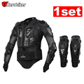 HEROBIKER Black/RED Motorcycles Armor Protection Motocross Clothing Jacket+protective Motocycle Knee Pad