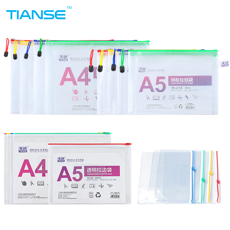 TIANSE A4 A5 zipper file bag 20pieces business organizer folder office supplies storage bag transparent PVC plastic document bag tianse document trays file holder file organizer for magazine book desk storage plastic office stationery file case file folder