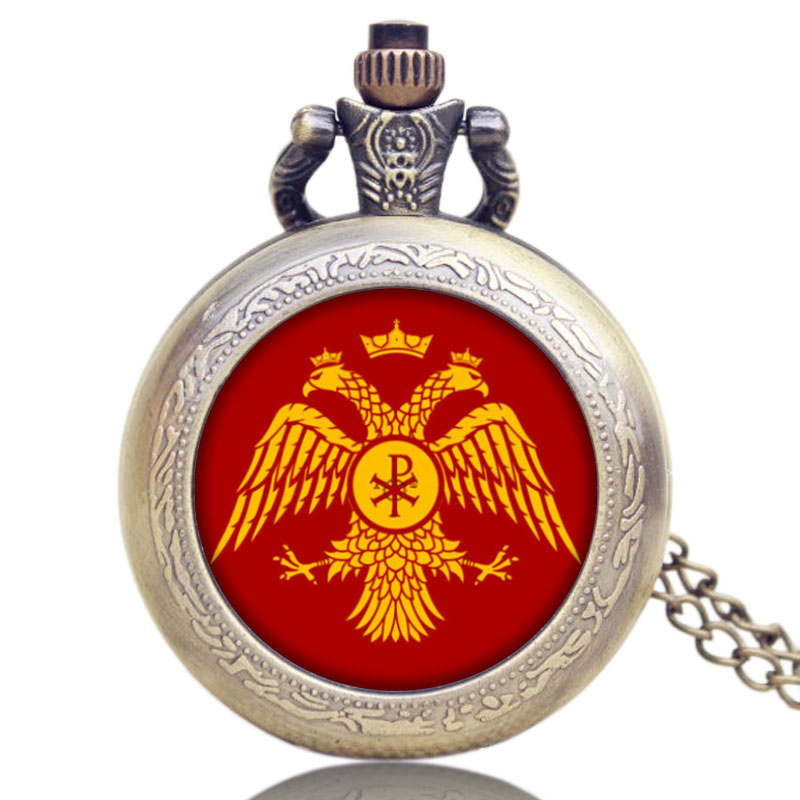 Quartz Movement Pocket Watch Russia's Double-headed Eagle Design Unique Style Bronze Necklace Chain Christmas Birthday Gifts