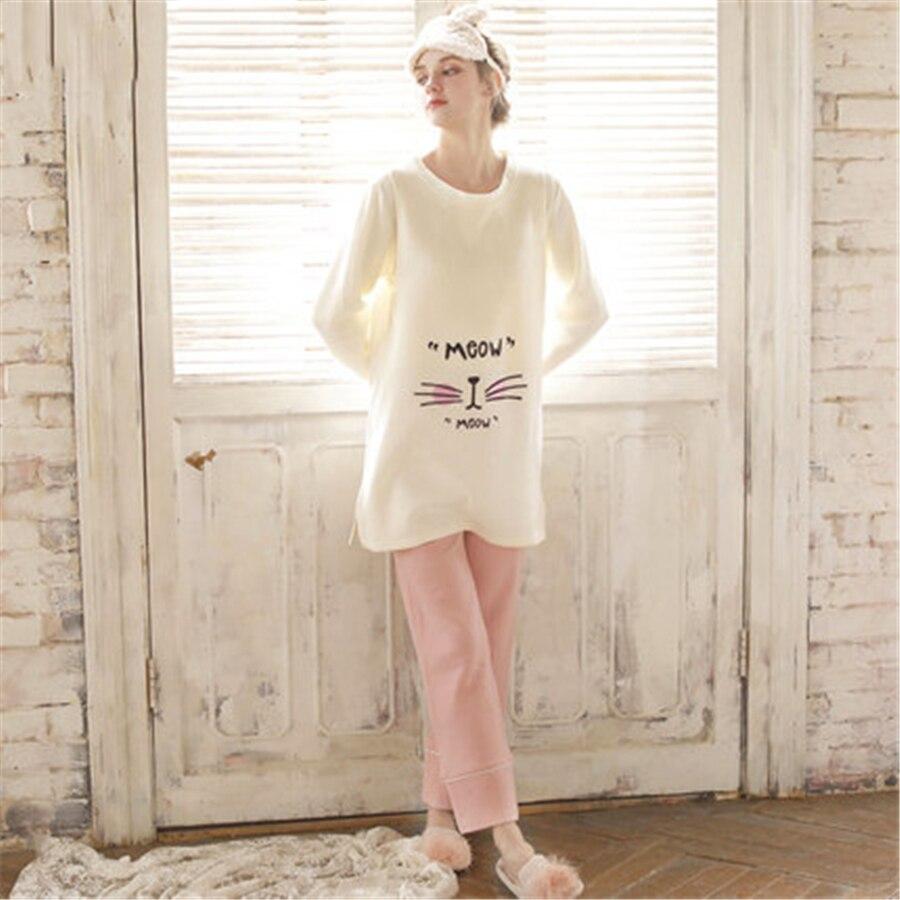 цена на Maternity Breastfeeding Clothes Cotton Sleepwear Nursing Pajamas Set Long Sleeve Loose Clothes For Pregnant Women Cotton 70M0203
