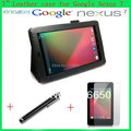 For Google Nexus 7 Folio luxury leather case Magnetic Cover Sleep/Wake with free stylus and screen protector as gift