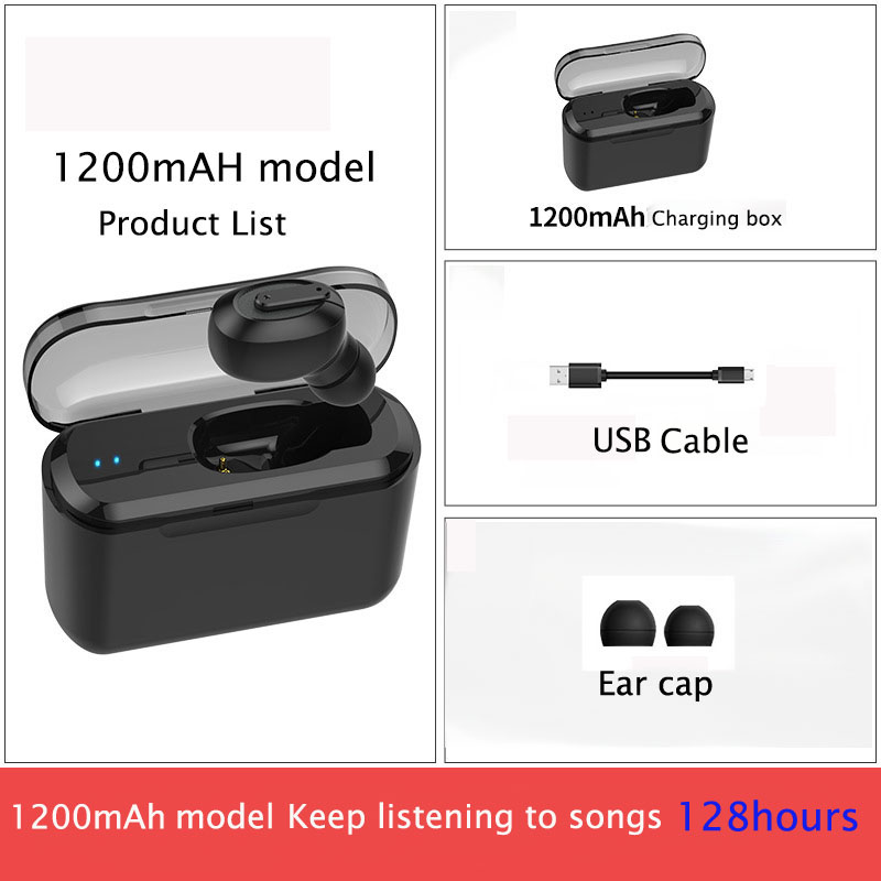 Mini bluetooth headsets wireless earbuds Hands free Sport Earphone For Car Driving Phone with 2200mHA charge box in Bluetooth Earphones Headphones from Consumer Electronics