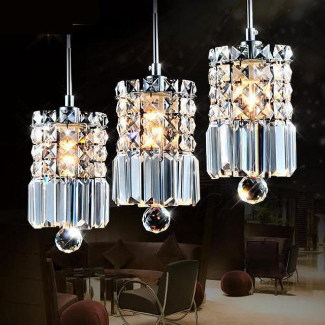 Cafe 3 pcs Modern Crystal pendant Light Restaurant hot selling clear crystal lighting E14 Led kitchen light Suspension Luminaire