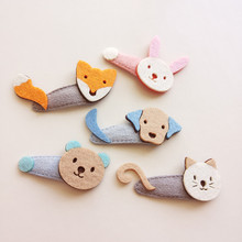 New Girls Fashion BB Barrettes 5pcs/lot Cartoon Animals Shape Kids clips Felt cloth Fox Cat Dog Bear Rabbit Head Design Headwear