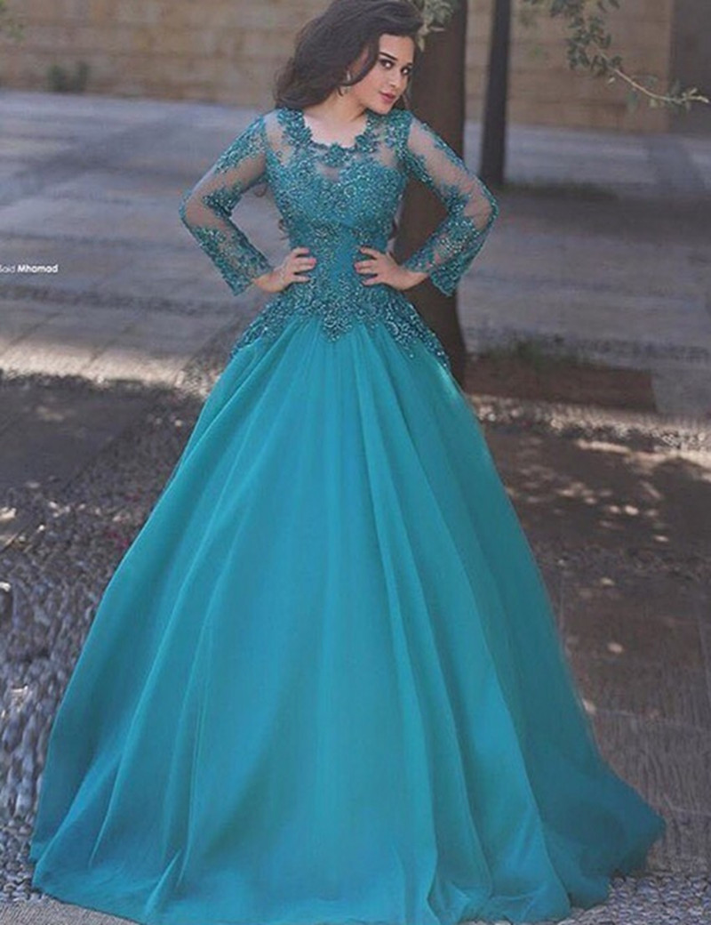 New Scoop Neck Ball Gown Long Sleeve 2017 Prom Dresses Long Tulle ...