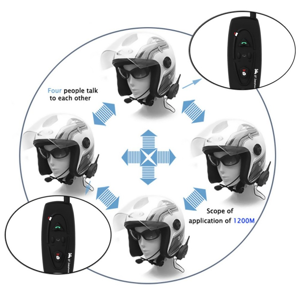 цена High Quality V2-500M Bluetooth Motorcycle Helmet Intercom Interphone 2 Riders BT Walkie Talkie For Skiing Cycling Helmet