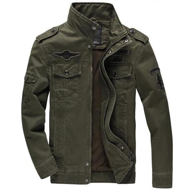 61276d82376 Chaqueta de algodón para hombre chaquetas militares de Jean talla grande  6XL abrigo de piloto masculino