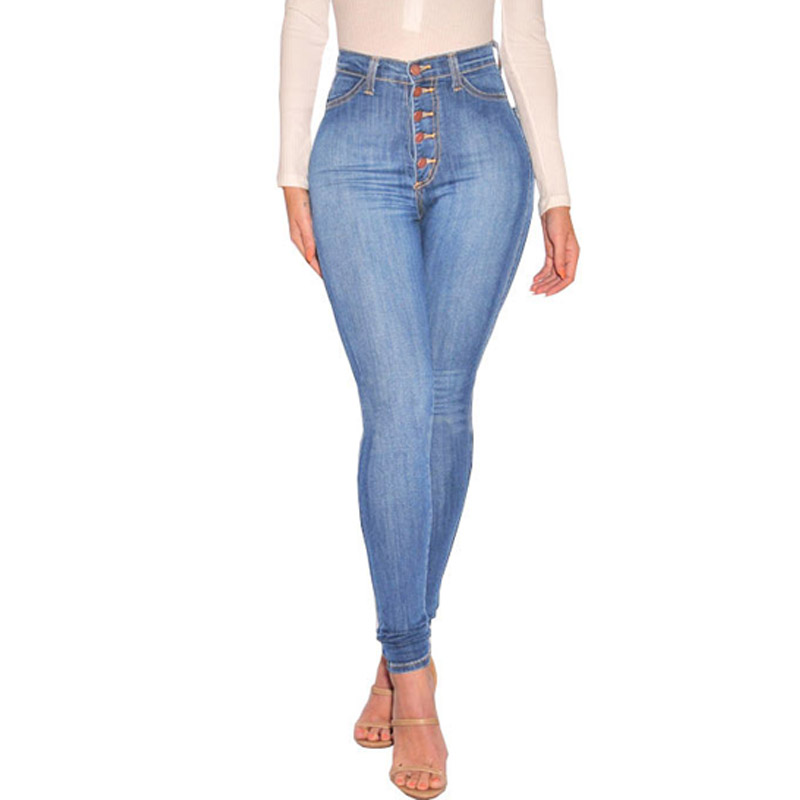 Jeans   Women New Arrival 2018 Winter Sexy Stretch Bodycon High Waist Front Button Ankle Length Casual Cowboy Mom   Jeans   xxl 35178