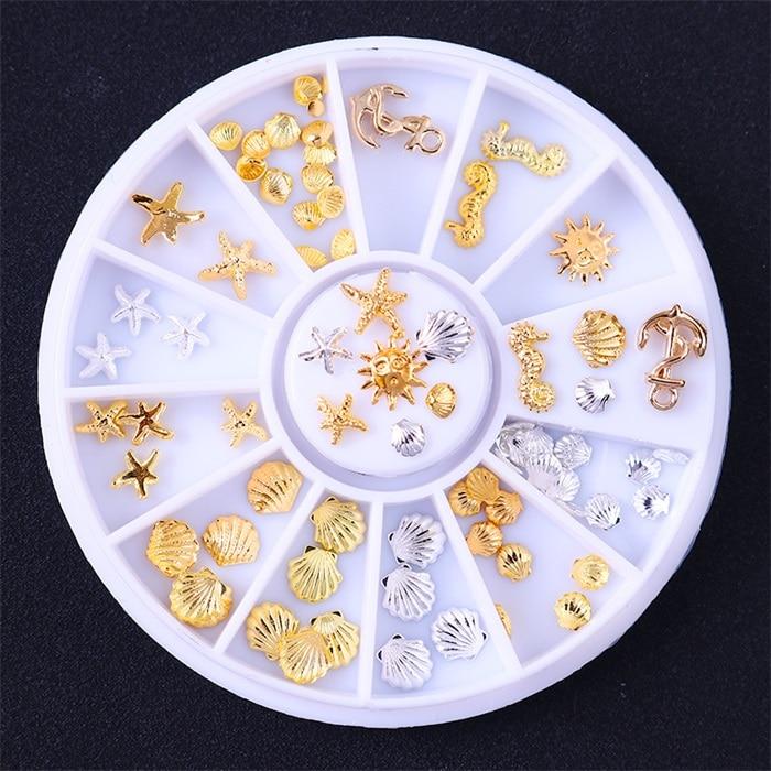 3D металлические украшения для нейл-арта, золотая металлическая цепочка, бисер, линия, много размеров, змеиная кость, сделай сам, украшение для маникюра, нейл-арта, 1 коробка - Цвет: 396600