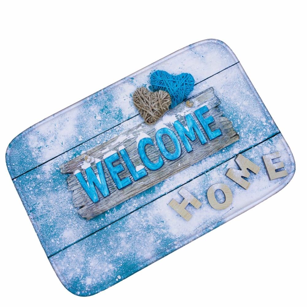 Mdct Aqua White Snowflake Welcome Home Floor Mats Merry