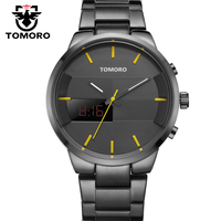 Fashion Simple Stylish Top Luxury Brand TOMORO Digital LCD Watches Men Black Brushed Steel Band Dial