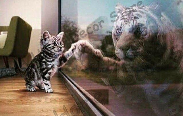 Kucing dengan Harimau refleksi 5D Diy Berlian Lukisan Mosaik Bor - Seni, kerajinan dan menjahit