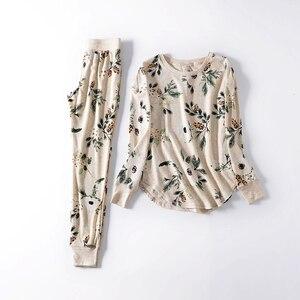 Image 2 - Fdfklak yeni bayanlar loungewear ev giysileri pijama kadın pijama pijama takımı bahar sonbahar uzun kollu pijama Q1542