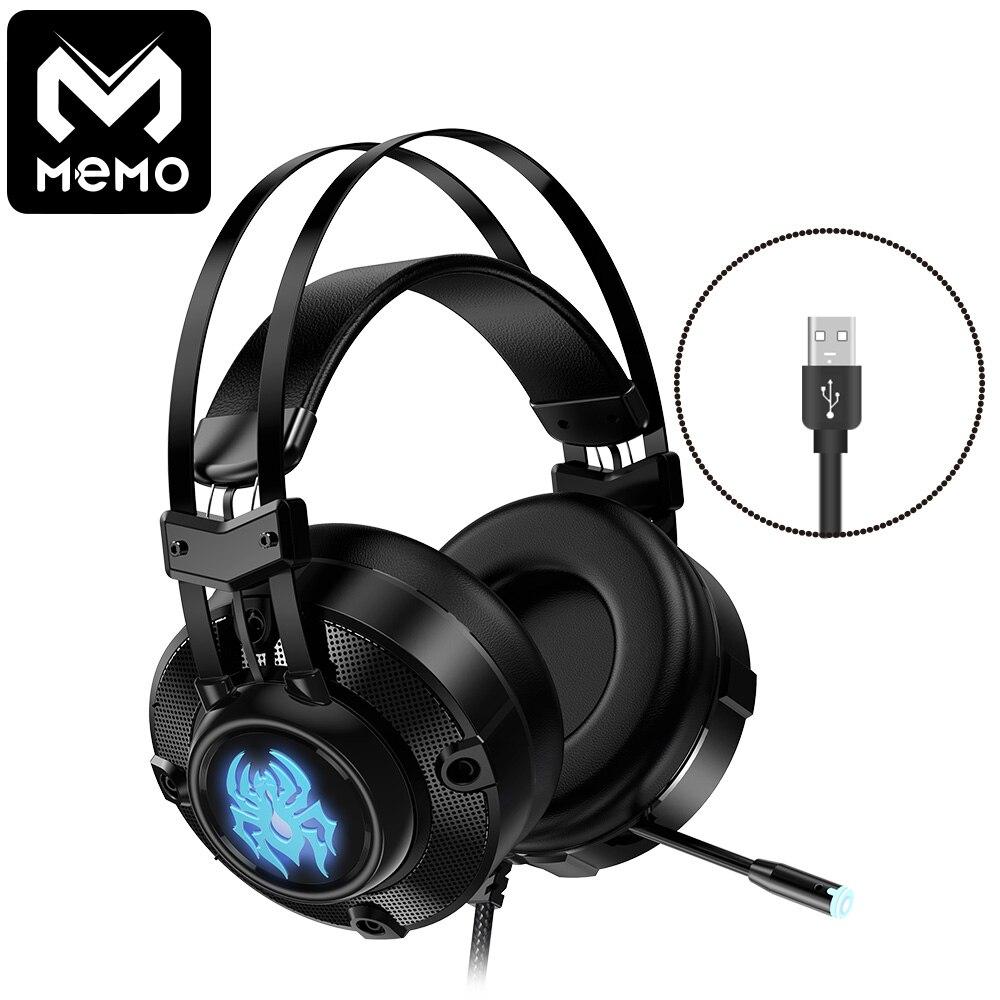 MEMO auriculares de juego jugador auriculares virtual 7,1 canal surround con micrófono de luz led y vibración 50mm altavoz grande