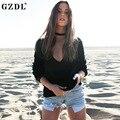 Сексуальная Трикотажные Погружение V Декольте Блузки Женщины Мода Длинным Рукавом Черный женщин Твердые Осень Клубная одежда Топы Рубашки CL3270