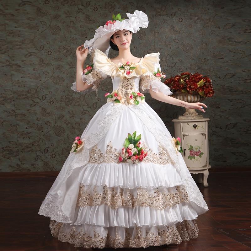 18th siècle o-cou blanc/rouge dentelle fleurs Appliques volants muliti-couche Rococo robe de soirée Renaissance banquet spectacle robe de bal
