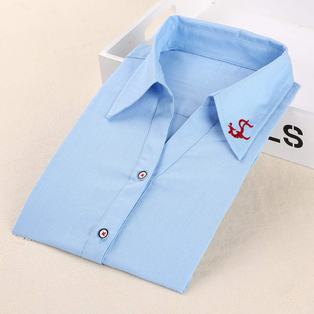 Plus Size Frauen Blusen Phenix Langarm Shirt Frauen Solide Baumwolle - Damenbekleidung - Foto 4