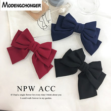 Quality Big Large Girls Hair Bow Hairgrips Solid Color 3 layers Barrette Clips Spring Clip Women Ponytail Accessories